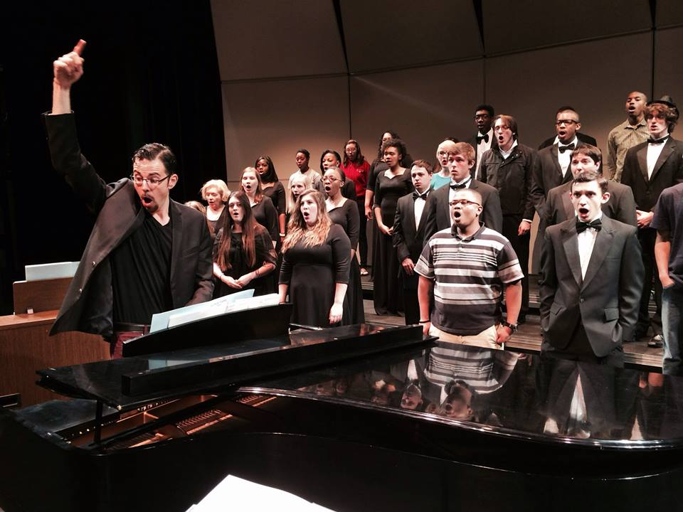 KEEPING COMPOSED: Upcoming concerts will feature original compositions by VWC's Director of Choral Music Michael John Trotta. (Photo by Ada van Tyne '14)