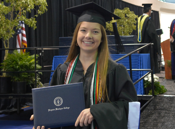 I AM VWC: Kaitlyn Dozier of Virginia Beach graduated summa cum laude with degrees in communication and Hispanic studies at the College's commencement ceremony on May 17. (Photo by Janice Marshall-Pittman)