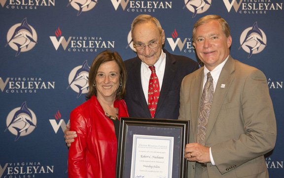 Robert C. Nusbaum (center) was recognized April 25 as the Founding Fellow of the Center for the Study of Religious Freedom. He is pictured with his wife, Linda Laibstain, and Virginia Wesleyan College President Scott D. Miller at the annual Justine L. Nusbaum Lecture.