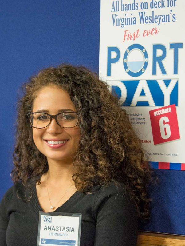 Student Anastasia Hernandez with Port Day Poster