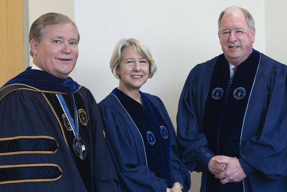 GUESTS OF HONOR: Virginia Wesleyan President Scott D. Miller (left) poses with honorary degree recipients Carrie Hessler-Radelet and George Y. Birdsong prior to the ceremony processional.