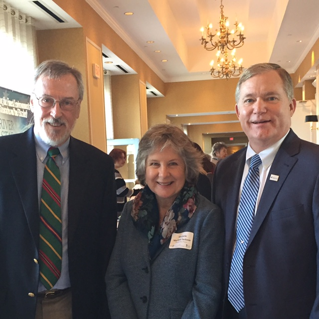 VWC Professor of Political Science William Gibson (left) and President of the College Scott D. Miller accepted the award from Marjorie Mayfield Jackson, Executive Director of the Elizabeth River Project.