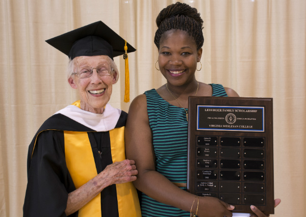 GUEST OF HONOR: Mrs. Suzanne Ledeboer travels from California each spring to present the Ledeboer Family Scholarship Award to a deserving VWC adult history student. Senior Natasha Bugey is this year's award recipient. (Photo by Janice Marshall-Pittman)