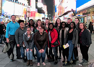 Virginia Wesleyan students and Profs. Larkin and Malone in New York City, January 2017. Anonymous photographer.