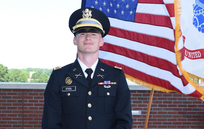 Gavin Steel '19 was commissioned as a second lieutenant in the U.S. Army following the Commencement Ceremony.