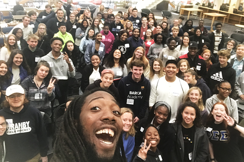 Say Marlins! Student body president Tip Major '20 snuck in a photo with future Marlins during the open house freshman session.